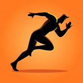 Silhouette Illustration Of A Sprinter, Vector Graphic poster