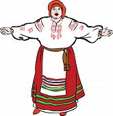 fat woman sings in Ukrainian costume and meets