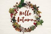 Hello Autumn Text, Fall Greeting Sign On Autumn Wreath Of Fall Leaves, Red Berries, Acorns, Anise, N poster