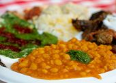 Selective Focus On Chickpeas In Mediterranean Dish On White Plate - Ethnic Food Concept poster