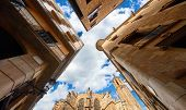 Gothic Quarter. Barcelona. Catalonia, Spain. Medieval Barcelona Cathedral with tower. Antique buildi poster