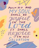 Hand Lettering With Bible Verse My Soul Shall Be Joyful In The Lord, It Shall Rejoice poster