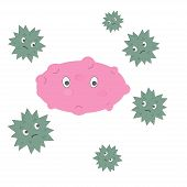 Cartoon Virus Character Vector Illustration On White Background. Cute Fly Germ Virus Infection Vecto poster