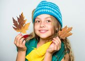Kid Wear Warm Knitted Hat And Long Scarf. Fall Fashion Concept. Which Fabrics Will Keep You Warmest  poster