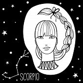 Scorpio. Woman With Zodiac Sign. Stars, Astrological, Constellation, Beauty, Female. Hand Drawn Vect poster