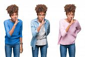 Collage of young beautiful african girl over isolated background hand on mouth telling secret rumor, poster