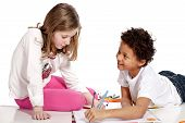 interracial  children drawing together