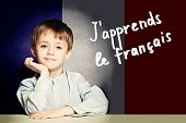 Learn French Language Concept. Happy Child Student And Tittle j poster