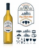 Vector Vintage White Wine Label And Wine Bottle Mockup. Winemaking Business Branding And Identity Ic poster