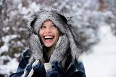 Cold Winter Weather. Beautiful Woman In Warm Coat, Fur Hat And Mittens. Winter Holidays. Christmas G poster