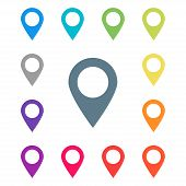 Colored Pointers In Abstract Style On White Background. Arrow Pointer Icon. Map Pin Pointer Icon Loc poster