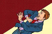 Scared Man, Human Emotions. Pop Art Retro Vector Illustration Drawing poster