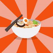 Noodles Restaurant With White Bowl Vector .ramen Japanese Noodle Soups With Shiny Background.red Bow poster