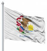 Waving Flag of USA state Illinois