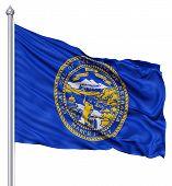 Waving Flag of USA state Nebraska