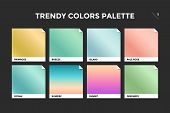 Set Of Colorful Trendy Gradient Template. Collection Palette Of Color Metallic Gradient Illustration poster