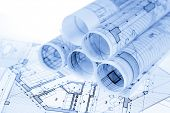 foto of blueprints  - rolls of architecture blueprints  - JPG