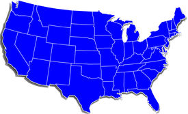stock photo of usa map  - A Simple Blue Map of the United States over white - JPG