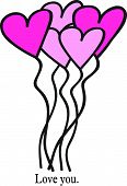 Heart Balloon Bouquet with Love You