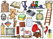 Set Of Different Vintage Objects