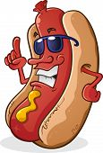 Hot Dog Cartoon Wearing Sunglasses