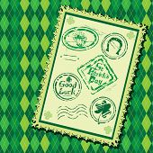 Set Of Green Grunge Rubber Stamps With Beer Mug, Shamrock,  Horseshoe And Texts St. Patrick's Day, G