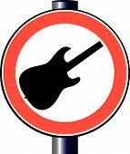 Sinal de tráfego de guitarra de paródia