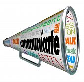 A bullhorn megaphone covered with words describing forms of communication such as talk, listen, hear, see, educate, update and more