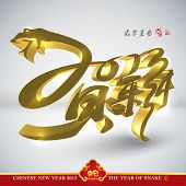 Golden Snake, Chinese New Year 2013. Translation: New Year Celebration 2013