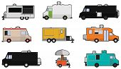 stock photo of food truck  - Nine different Food Trucks  - JPG