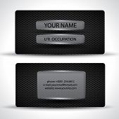 Modern black business card with carbon texture and transparent panels