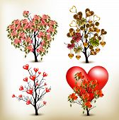 Collection Of Vector Valentine Trees Decorated By Roses Flowers And Hearts