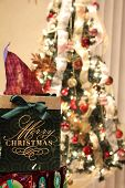 Christmas Gift And Christmas Tree With Lights