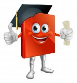 stock photo of convocation  - Cartoon graduation book education mascot giving thumbs up wearing mortarboard hat and holding a diploma - JPG