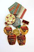 Soviéticas medalhas para o valoroso trabalho