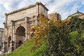 Triumphal Arch Of Emperor Septimius Severus In The Roman Forum In Rome, Italy