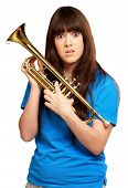 portrait of a teenager holding trumpet on white background