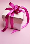 Pink Gift In White Box And Polka Dot Lid, With Candy Hot Fuchsia Pink Ribbon.