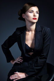 image of nacked  - Portrait of sexy business woman in a suit - JPG