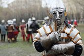 MOSCOW - APR 28: Warrior in armor and helmet at Battle of East - Russia-Orda XI-XV centuries on Mane