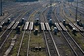 image of railroad yard  - top view to a lot of parallel railway lines at marshalling yard - JPG