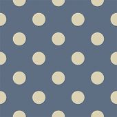 Retro seamless vector pattern or texture with light beige big polka dots on pastel blue background