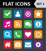 Universal Colorful Flat Icons. Set 1.