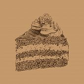 Cake sketch on brown
