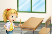 Illustration of a girl holding a pencil inside the classroom
