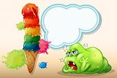 Illustration of a sleepy green fat monster near the giant icecream
