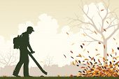 Illustration of a man using a leaf-blower to clear leaves
