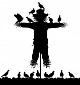 Illustrated silhouette of a flock of pigeons on a scarecrow