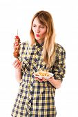 beauty girl with fast food isolated on white