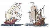Vector Set Of Color Ship With Sails For Icons.